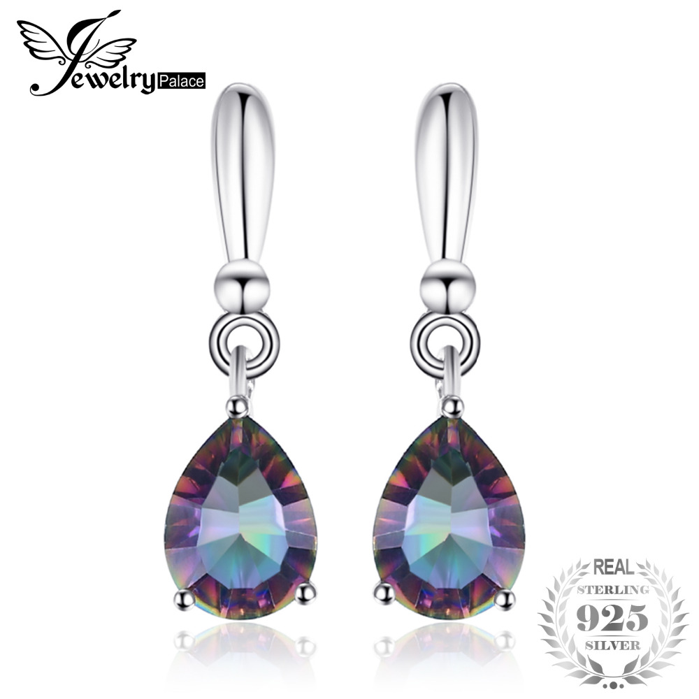 High Quality 2ct Water Drop Genuine Rainbow Fire Mystic Topaz Drop Earrings 925 Sterling Silver For Women New Gem stone Jewelry