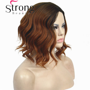 Image 4 - StrongBeauty Short Black/Brown Ombre Bob, Side Part, No Bangs Full Synthetic Wig COLOUR CHOICES