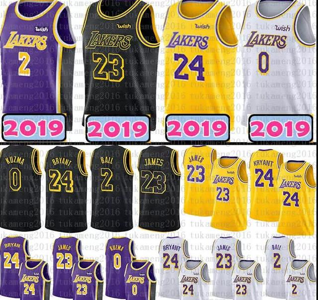 a5c36d19a791 Los Angeles 24 Kobe Bryant 23 LeBron James Lakers Jersey Black Gold 2 Lonzo  Ball 0 Kyle Kuzma Jerseys 2018 Youth Mens Adult