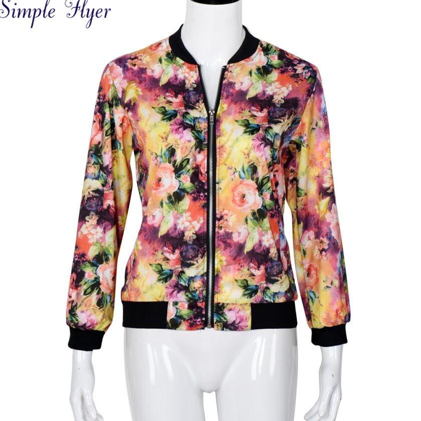 SIF  Fashion Women Stand Collar Long Sleeve Zipper Floral Printed Bomber Jacket AGU 04