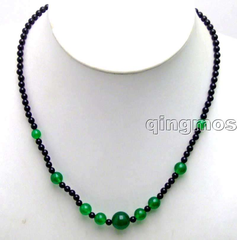 4mm black round Natural Stone and 6-12mm Green Stone 18 Necklace-nec5868