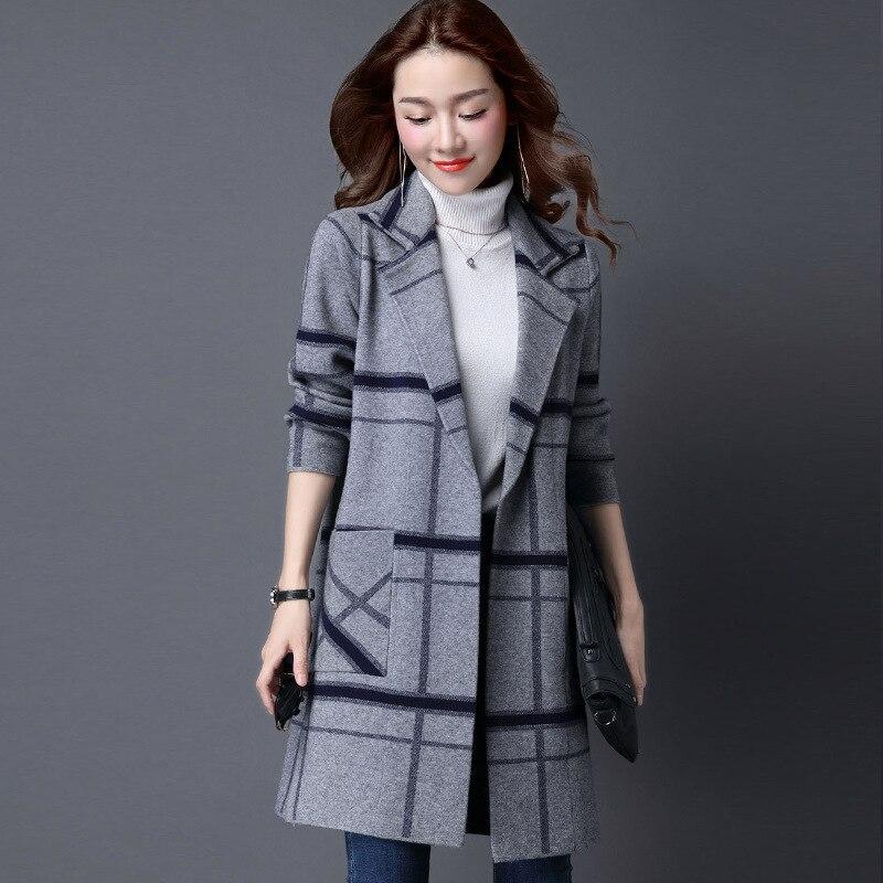 M-5XL manteau coréen Femmes Printemps Automne Tricoté pull de taille plus Cardigan Femmes Veste D'hiver Lâche Grands Chantiers Longue Chandails Manteau