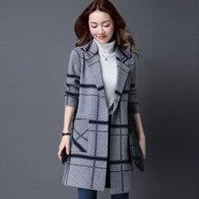 M 5XL معطف كوري المرأة الربيع الخريف محبوك سترة حجم كبير سترة المرأة الشتاء سترة فضفاضة ساحات كبيرة طويلة البلوزات معطف