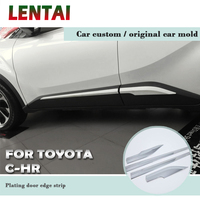 LENTAI Auto Car Bumper Anti collision Modified Plating Door Edge Strip Stickers For Toyota CHR C HR 2018 2017 2016 Accessories