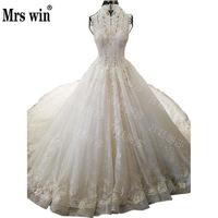Mrs Win Sleeveless Tulle Halter Neck Royal Train Button Full Beaded Applique Princess Simple BallGown Gelinlik Lace Dress FrockC