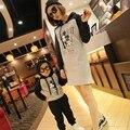 2017 Primavera New Matching Mãe Filha Roupas Filho Mãe Roupas de Algodão Mickey Hoodies da Camisola Com Capuz Camisa de Manga Longa