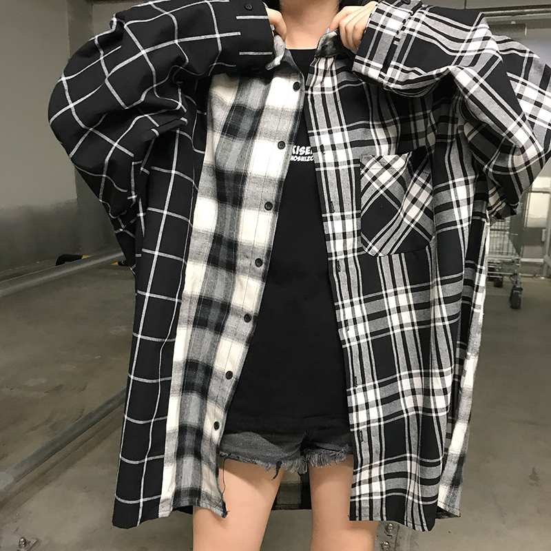 Special Section Women Black White Color Match Plaid Shirt 2019 New Spring Fashion Loose Long Sleeve Casual Student Female Shirt Women's Clothing