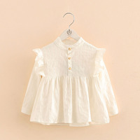 2017 Autumn New 3 8years Child Clothing Children Clothes Baby Girl White Long Sleeve Shirts Kids