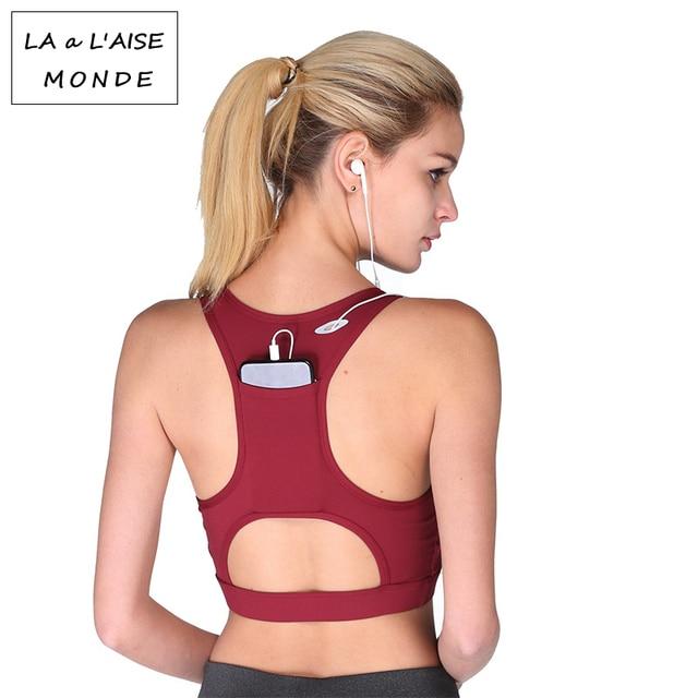 bb5b118c5c0 Women Fitness Yoga Bra with Back Phone Pocket High Elastic Sport Bra Top Gym  Sportswear Shockproof Running Bra Tops Push Up