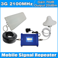 Conjunto completo LCD Pantalla 3G WCDMA 2100 Teléfono Celular Móvil Celular amplificador de Señal Del Repetidor Del Amplificador con el Cable de la Antena de Interior Al Aire Libre