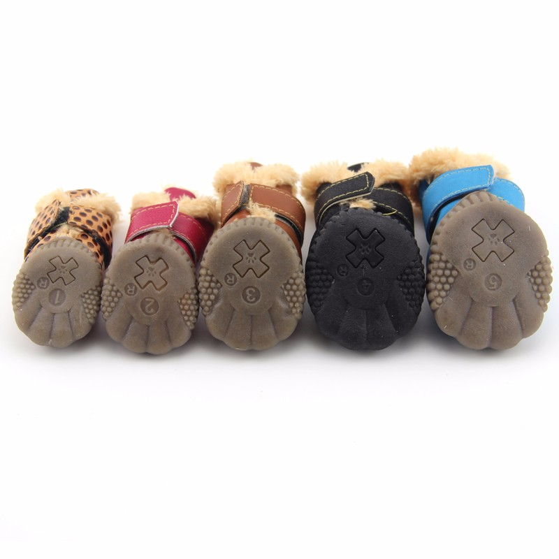 788a3e61c6 ... Winter Pet Dog Shoes Waterproof 4Pcs Set Small Big Dog s Boots Anti  Slip Sneaker For