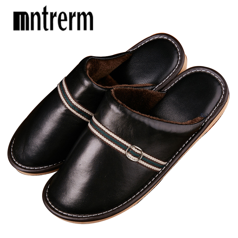 Mntrerm Men Slippers Winter Genuine Leather Warm Home Indoor Non-Slip Thermal Sheepskin Slippers 2018 New Hot Large Size Shoes