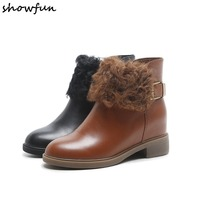 Women's Genuine Leather Ankle Buckle Winter Flats Ankle Boots Wool Cold Weather Waterproof High Quality Short Booties Shoes Sale