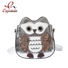 Fun Cute Owl Design Sequin Pu Leather Fa