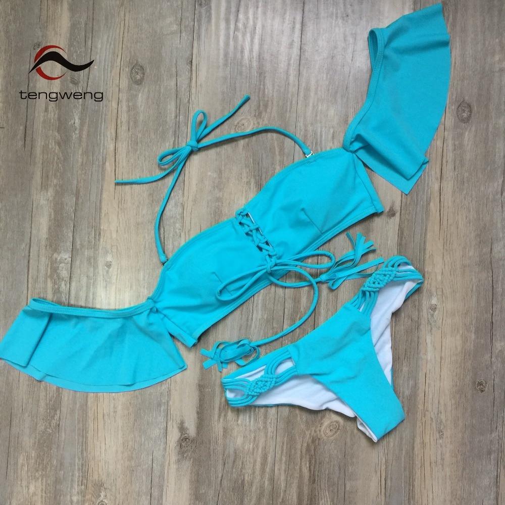 HTB1F2pTdQCWBuNjy0Faq6xUlXXaj - Tengweng 2019 Sexy Off shoulder Ruffle Bikini Blue Push up Women Swimwear Thong Bandeau Swimsuit Brazilian Female Bathing suit