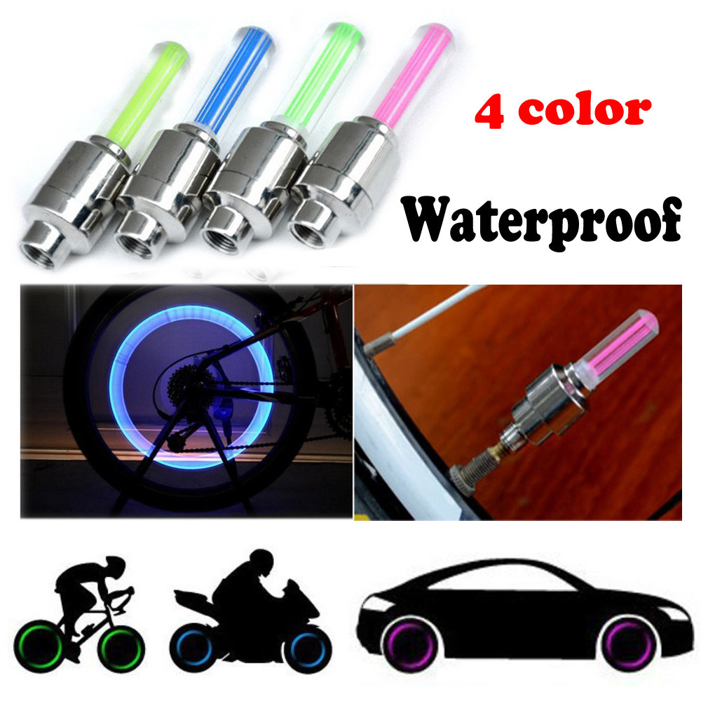 2PCS Bike Car Motorcycle Wheel Tyre Valve Cap Flash LED Light Lamp Accessories Auto Car-styling hot sale 3pcs led flash spoke wheels tyre tire valve caps glo sticks led light for car motorcycle bike cycling green new