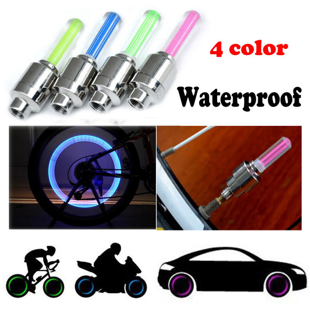 2PCS Bike Car Motorcycle Wheel Tyre Valve Cap Flash LED Light Lamp Accessories Auto Car-styling