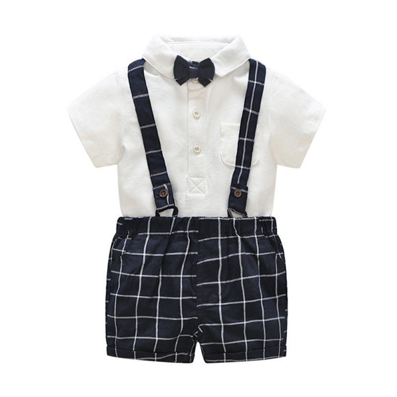 NewCotton 1 4T Plaid Gentleman style Summer Casual Baby Boy Set Short Sleeve Plaid Suspender Pants Kit Kids Toddler Overalls