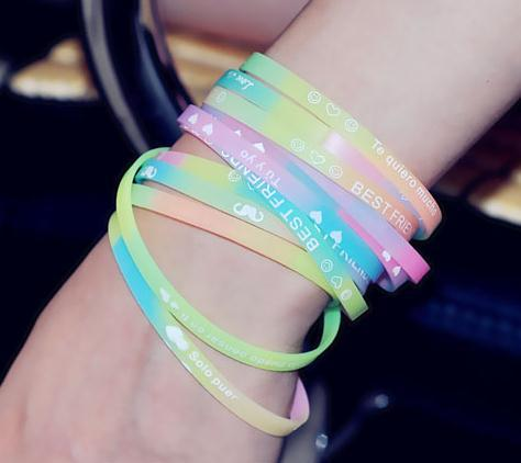 Fluorescent color Sports letters luminous silicone rubber bracelet hand ring hair band Free shipping