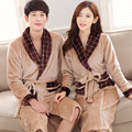 2016 Brand New Couples Pajamas Robe Men/Women Robes Sleepwear Coral Fleece Mink Flannel Bathrobes Thicken Bathrobes for Lovers