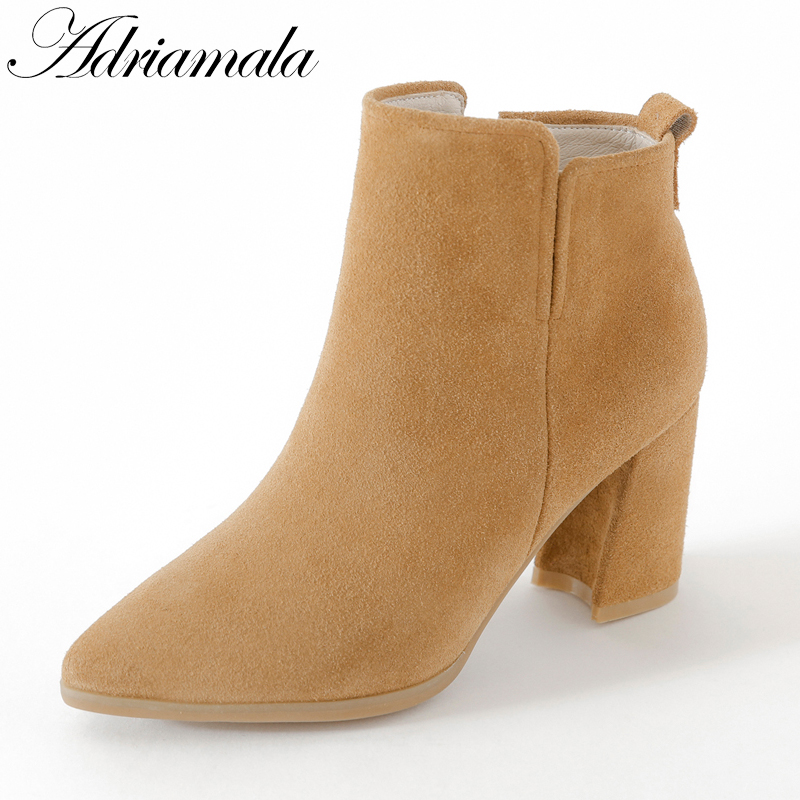 2017 Chelsea Boots Women Suede Retro Winter Shoes Cow Suede Female High Heels Pointed Toe Real Leather Ankle Boots Adriamala enmayla autumn winter chelsea ankle boots for women faux suede square toe high heels shoes woman chunky heels boots khaki black