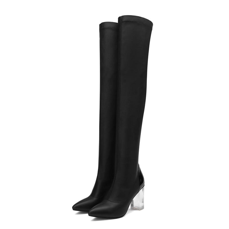 Sexy Haute Black Chaussures Chunky 41 Stretch Bout Talons Dames 8 Soirée Le Cristal Furtado black 2018 5cm Sur Pointu Glissent Genou Bottes De Automne 4cm Arden t016wqn