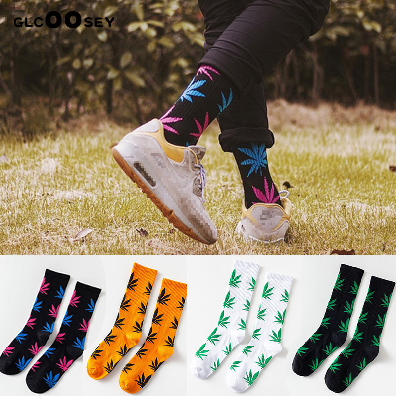6 Pairs/Pack Harajuku Chaussette Style Weed Socks For Men Cotton Hip Hop Socks Man Meias Mens Calcetines Winter Spring
