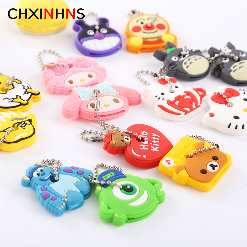 2pcs/set Cartoon Anime Keychain Key Cover Women Bag Funny Hello Kitty Totoro Silicone KeyChains Cute Animal Key Holder Caps Bag полочки для ванной комнаты animal silicone toothbrush holder cute animal silicone toothbrush holder