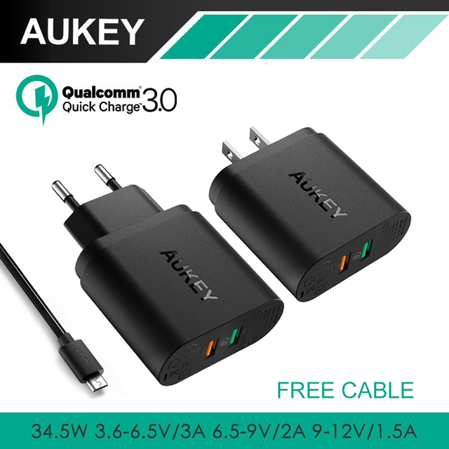 AUKEY 34.5W Dual USB Charger with Quick Charge 3.0 &AIPower Tech Phone Charger For iPhone Samsung LG Xiaomi &More Tablet/Phones
