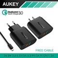 Aukey 34.5 w dual usb carregador com carga rápida 3.0 & aipower tech carregador do telefone para o iphone samsung lg xiaomi & mais tablet/celulares