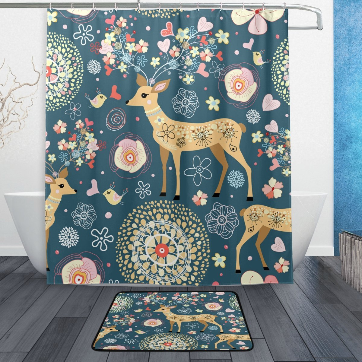 Vintage Floral Deer Abstract Flower Waterproof Polyester Fabric Shower Curtain Set With Hooks Doormat Bath Floor Mat Bathroom In Curtains From Home