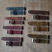 Vintage Women Men Watches Replacement Genuine Leather Watch Band Stitching Bracelet Watchband Strap
