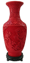 12 inch / Exquisite Chinese Classical Red Cinnabar Lacquer Beautiful Flower Designs Auspicious Vase