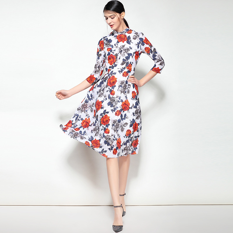 Red rose flower print dress 2018 spring summer beautiful women top red rose flower print dress 2018 spring summer beautiful women top quality 100 real silk 34 sleeve a line office lady dress in dresses from womens mightylinksfo