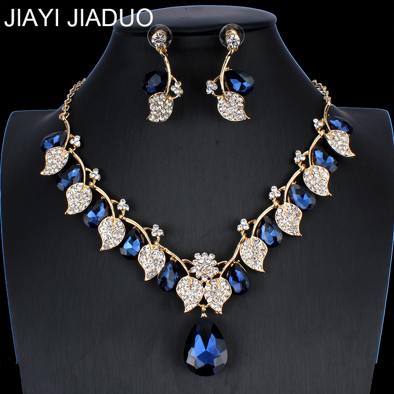 jiayijiaduo Bridal Wedding Jewelry Set / Crystal Necklace Earrings Set Classic Leaf Type for Women Wedding Jewelry NE+EA