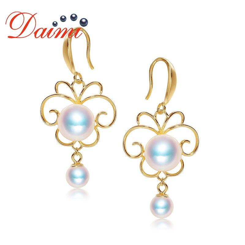 DAIMI Butterfly Earrings 8-8.5mm/5-5.5mm Akoya Pearl Earrings 925 Silver Earrings Prefectly Round Pearl EarringsDAIMI Butterfly Earrings 8-8.5mm/5-5.5mm Akoya Pearl Earrings 925 Silver Earrings Prefectly Round Pearl Earrings