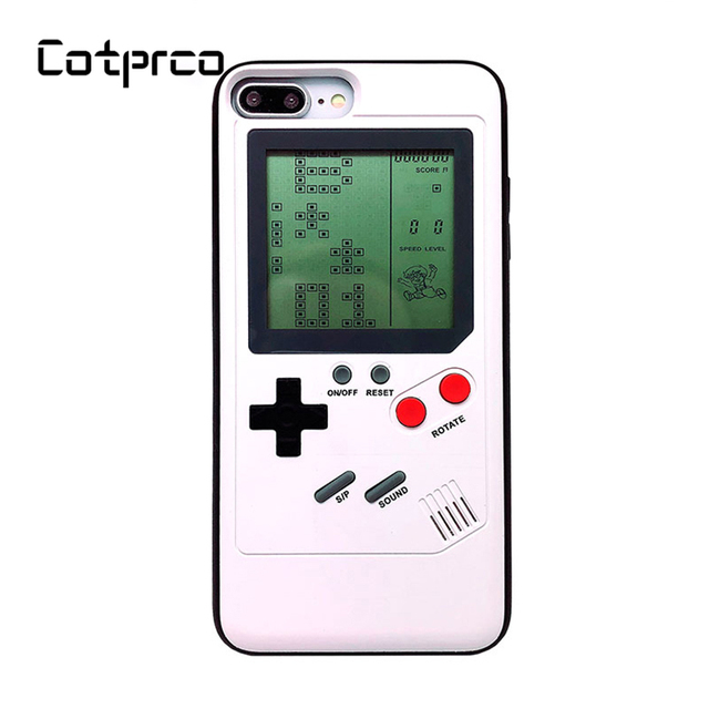 COTPRCO Tetris Classic Games Case For iPhone X 8 7 6 Console Cover  Protective Gameboy TPU Case For X 8 8P 7 7P 6 6P Fitted Case-in Fitted  Cases from