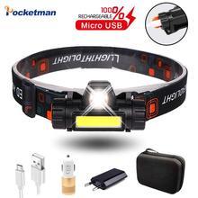 Светодиодный налобный фонарь XPE + COB с зарядкой от USB, налобный фонарь со встроенным аккумулятором 18650 для рыбалки, кемпинга