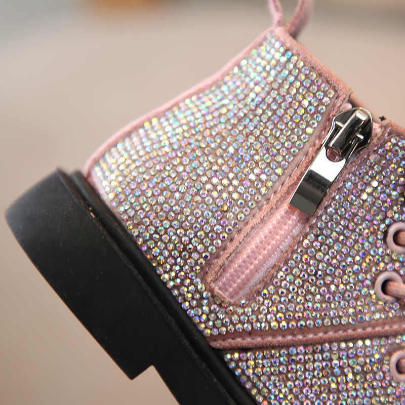 แฟชั่นฤดูหนาวใหม่รองเท้าเด็กหญิง rhinestone ลื่นเท้าอุ่นแฟชั่น Snow Martin รองเท้า 1-3 ปี.