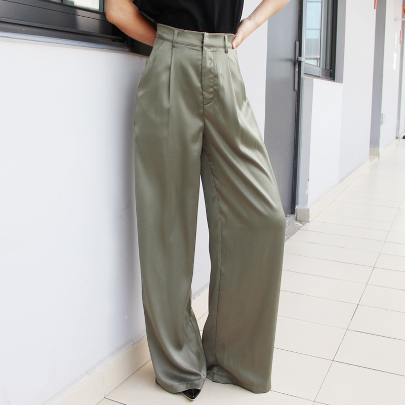 High Waist Casual Womens Wide Leg Pants  Pockets Summer Women Trousers Full Length Pants for Women