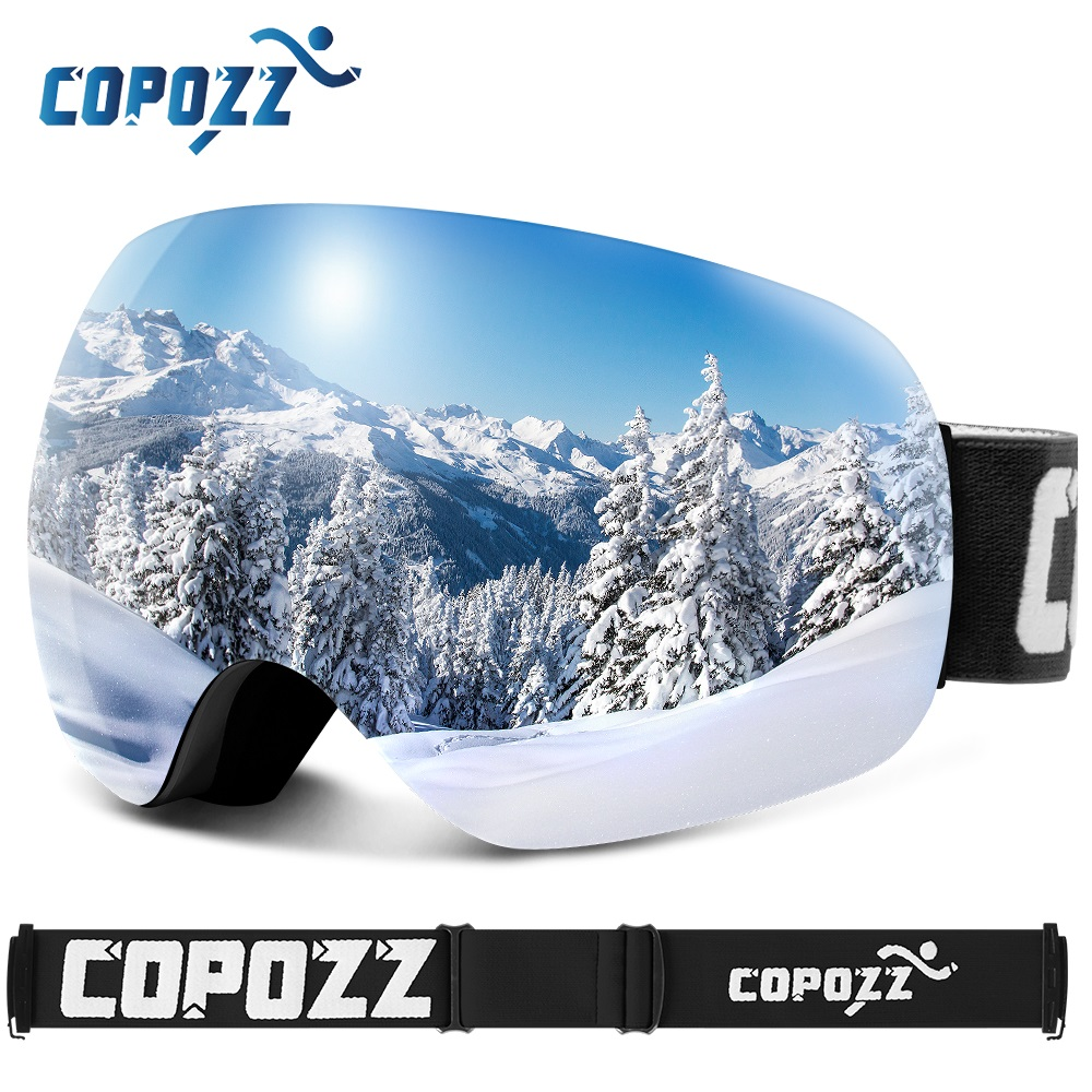 COPOZZ Anti-Fog Ski Goggles Spherical Frameless Ski Snowboard Snow Goggles 100% UV400 Protection Anti-Slip Strap For Men Women