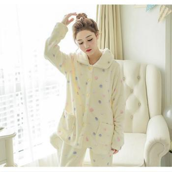 Winter New Thickened Cute Sleeping Coral Fleece Pajamas Home Furnishing Suit Coral Velvet Home Wear Leisure Wear Пижама