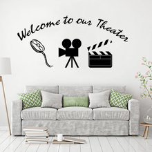 Home Movie Theater Wall Sticker Welcome to Our Quote Vinyl Decal Decoration Style Murals AY1613
