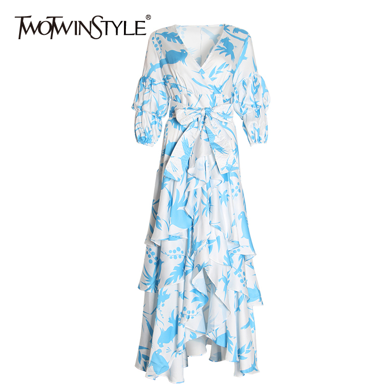 TWOTWINSTYLE Summer Print Dress For Women V Neck Puff Sleeve High Waist Bowknot Bandages Ruffles Dresses Female 2019 Fashion New