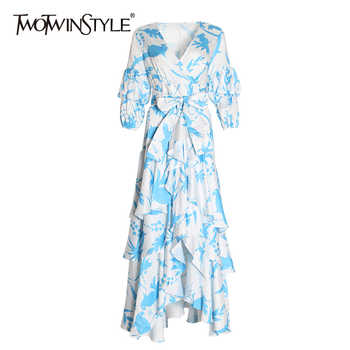TWOTWINSTYLE Summer Print Dress For Women V Neck Puff Sleeve High Waist Bowknot Bandages Ruffles Dresses Female 2019 Fashion New - DISCOUNT ITEM  39% OFF All Category