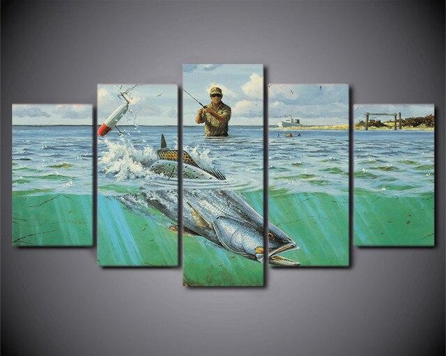 HD Impresso 5 Peça Canvas Wall Art Peixes Do Oceano Soldado De Pesca Quadro  Pintura Poster