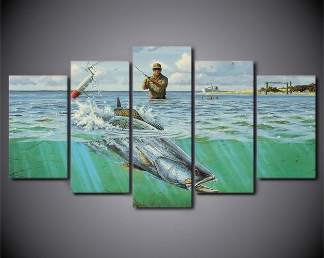 HD Printed 5 Piece Canvas Prints Wall Art Ocean Fish Soldier Fishing ...