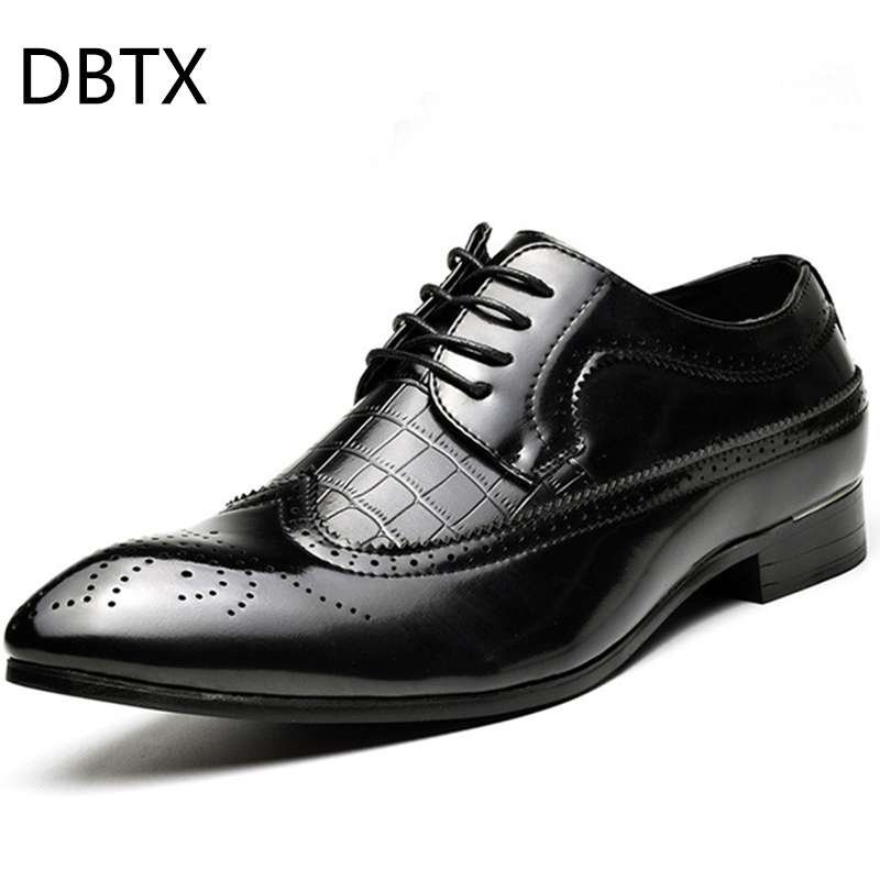 DBTX 2018 Spring Pointed Toe Men Dress Shoes Leather Oxfords Formal Shoes For Business Wedding Shoes Male Luxury new 2018 fashion men dress shoes black cow leather pointed toe male oxfords business shoes lace up men formal shoes yj b0034