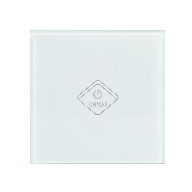 UK Plug WiFi Smart Switch 1 Gang Light Wall Switch White Crystal Tempered Glass Panel Touch Screen APP Control For Amazon Alexa sonoff t1 smart wifi rf app touch control wall light switch 1 2 3 gang 86 type uk panel wall touch light switch alexa nest