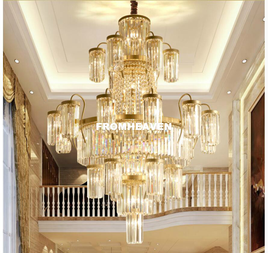 Modern Crystal Chandeliers Lights Fixture Luxury American Golden - Indoor Lighting - Photo 3
